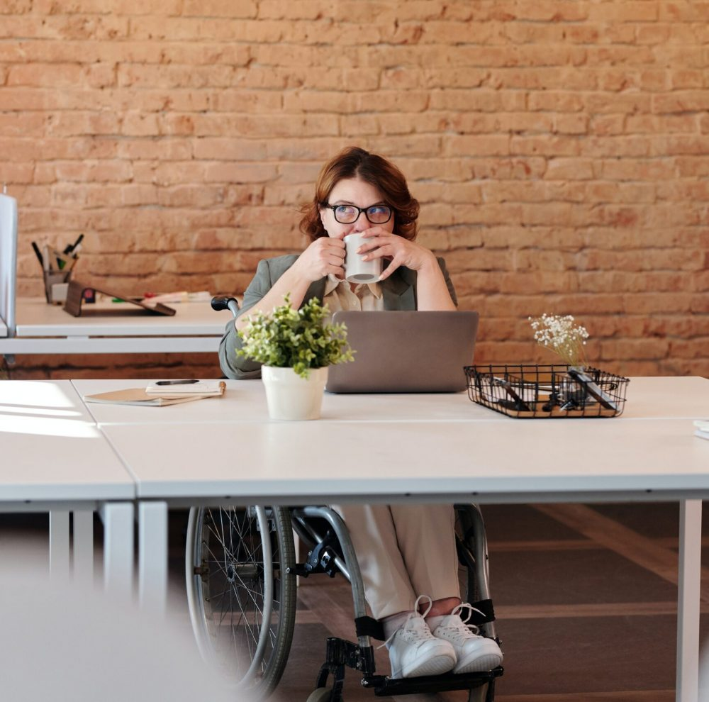 disabled woman at desk
